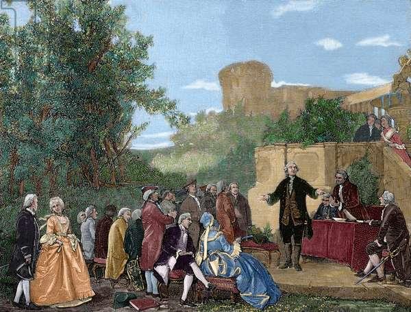 Carlo Goldoni (1707-1793), Italian playwright, reciting (colour engraving)
