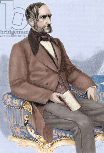 Anton von Schmerling (1805-1893). Austrian politician. Engraving in Universal History, 1885. Colored.