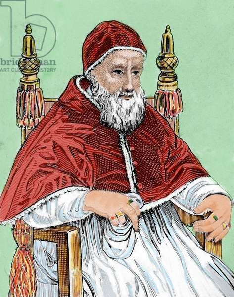 Pope Julius II (1443 1513). Engraving.