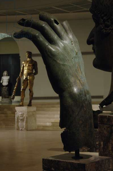 Constantine the Great. Roman Emperor from 306-337. Constantine's colossal left hand. Bronze. Capitoline Museums. Rome. Italy.