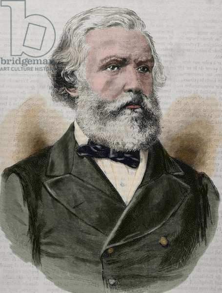 Austen Henry Layard (1817-1894). English archaeologist. Known as the excavator of Nimrud and Niniveh. Engraving. Colored.