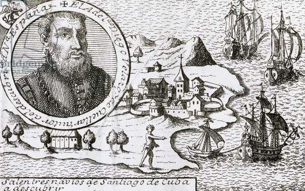 Diego Velazquez de Cuellar (1465-1524). Spanish explorer (engraving)
