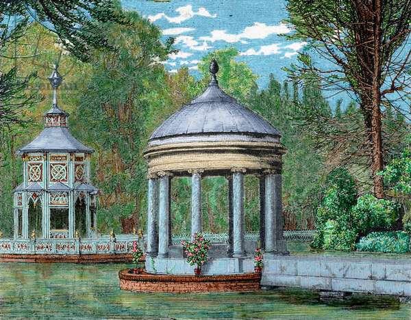 Spain. Madrid. Royal Palace of Aranjuez. Gardens. coloured engraving