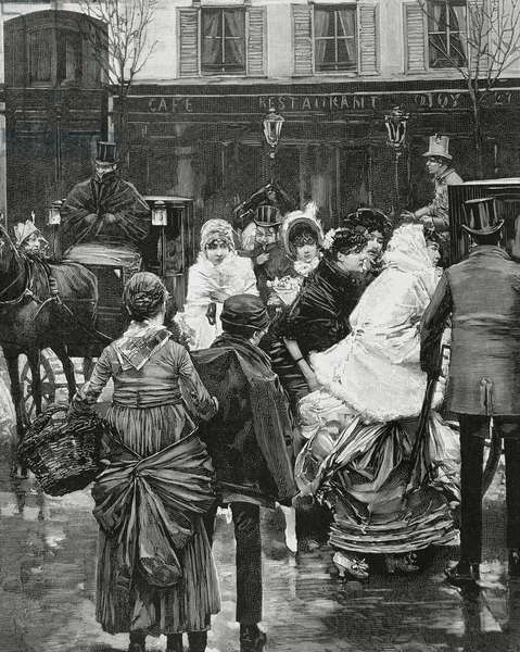 France. Paris. Street scene. Bourgeois family boarding a horse carriage. Engraving, 1864.