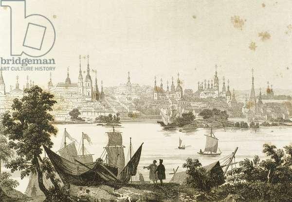 Russia. Kazan city in the Volga river's bank (engraving)