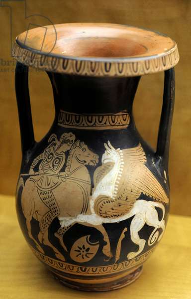Greek art. Red-figured pelika: Amazon and griffin. Clay. Attica, ca. 340 BC, Kerch style. The Group G.