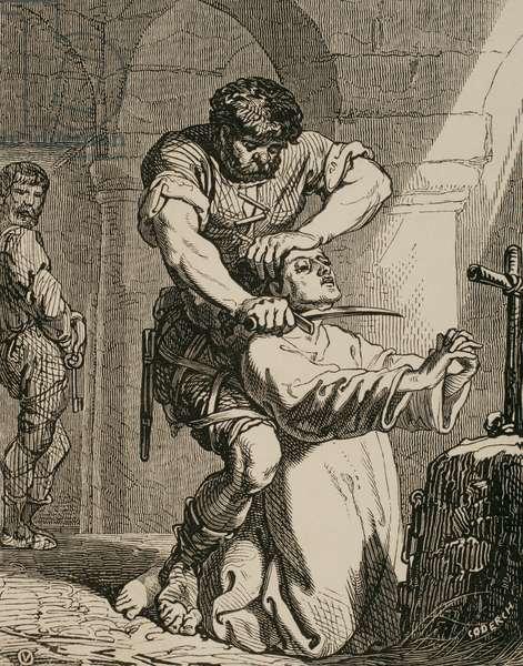 Death of Saint Hermenegild. Engraving.