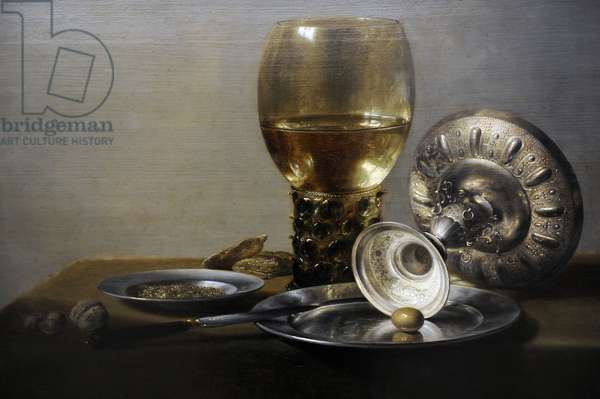 Pieter Claesz (c. 1597-1660). Dutch Golden Age still life painter. Still life, c. 1635. Oil on panel. Gemaldegalerie, Berlin. Germany.