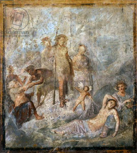 Roman fresco, Dionysus discovering the sleeping Ariadne, House of the Coloured Capitals, Pompeii, 1st century BC