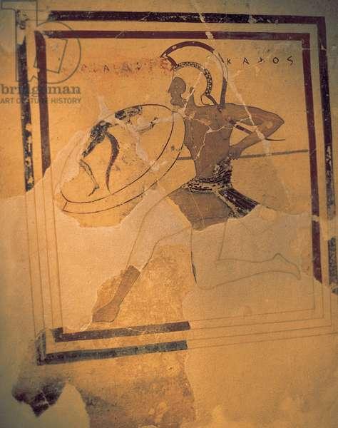 Greek art. Classical era. Hoplita. Fresco. 520-510 BC. Acropolis Museum. Athens. Greece.