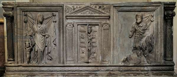 Roman sarcophagus panel depicting Hermes meeting the Souls of the Deceased. 3rd century AD