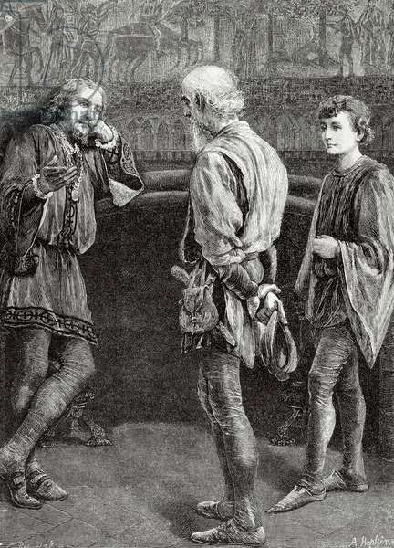 Engraving depicting Hamlet and the comedians. Scene of Hamlet by William Shakespeare (1564-1616).