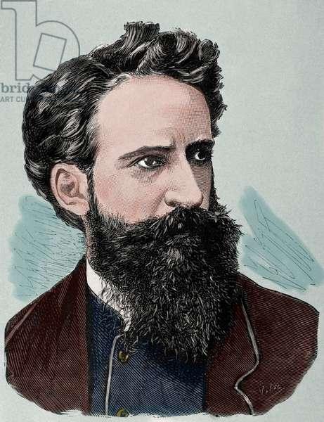 Hans Makart (1840 – 1884). Austrian academic history painter, designer, and decorator, coloured engraving.