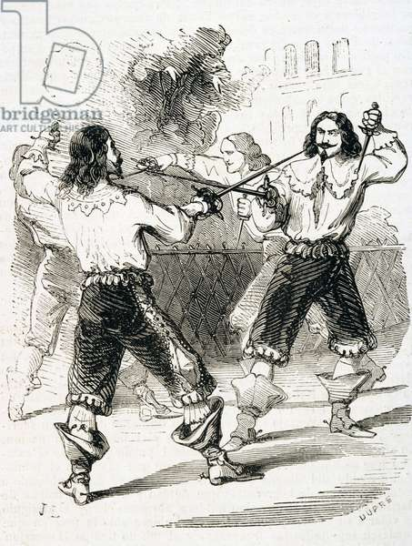Affair of Honour - Duel with swords to repair personal offense, engraved by Dupre (engraving)