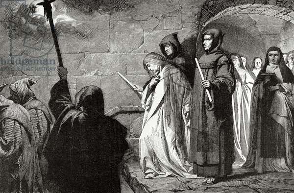 Immurement of a nun. Herrad of Landsberg (1130-1195). Engraving.