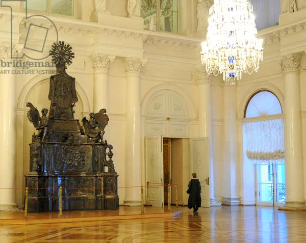 The State Hermitage Museum. Room Concert Hall with the Silver tomb of Alexander Nevsky. Saint Petersburg. Russia.