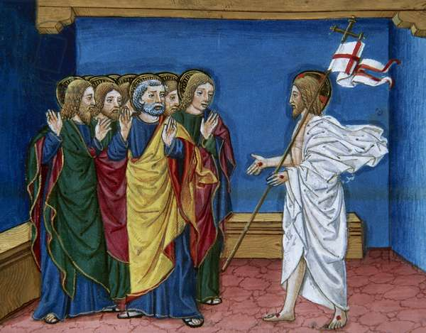 Jesus showing to the disciples his hands and his side. Miniature by Cristoforo de Predis (1440-1486), 1476.