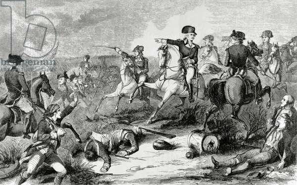 American Revolutionary War (1775-1783). Battle of Monmouth (1778) (engraving)