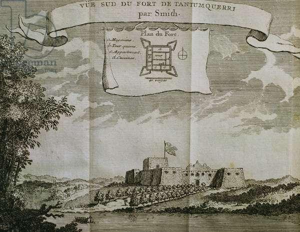 Africa. Gold Coast. 18th Century. Fort Tantumquerri (engraving)
