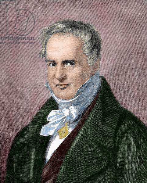 Alexander von Humboldt (1769-1859). Engraving. Colored.