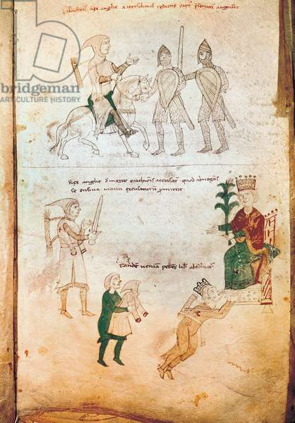 The King of England Richard I Lionheart (1157-1199) captured by Leopold II, Duke of Austria then delivered to Henry VI in 1193. Manuscript. Library of the University of Bern, Switzerland. (377-64)
