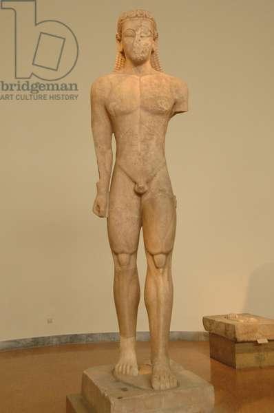 Greek Art. Kouros dedicated to Poseidon. VII century B.C.