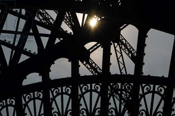 France. Paris. Eiffel Tower by Gustave Eiffel (1832-1923). Iron tower. Detail.