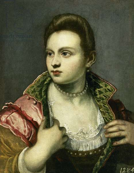 "Tintoretto (1518-1594). Marietta Robusti (1560?-1590), ""la Tintoretta"". Oil on canvas. Prado Museum. Madrid. Spain."