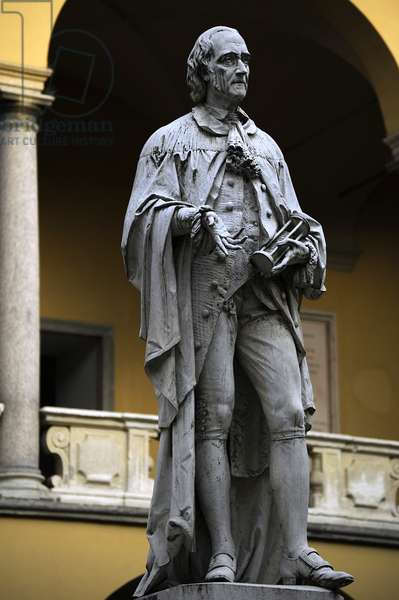 Alessandro Giuseppe Antonio Anastasio Volta (1745-1827). Italian physicis. Statue. University of Pavia. Italy.