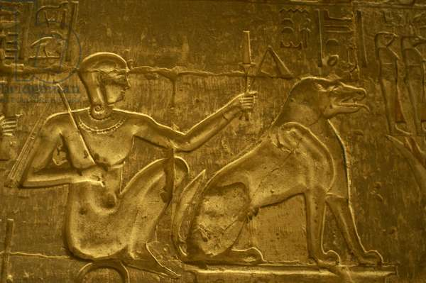 Ptolemaic temple of Hathor and Maat. Horus the Younger and Ammit. Egypt.
