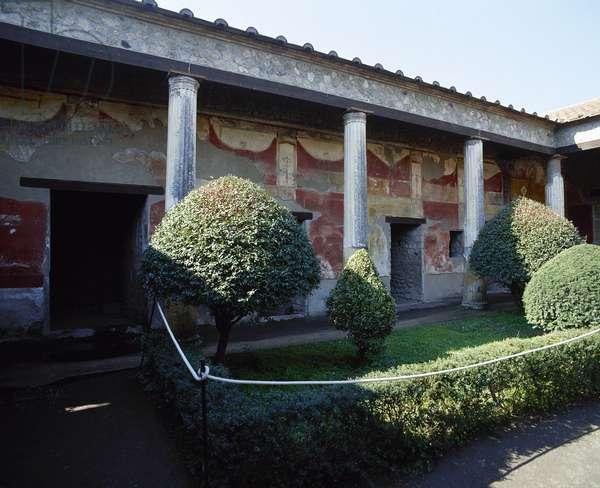 Italy, Pompeii, House of Venus in Shell, Courtyard garden, Campania