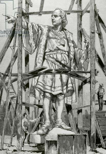 Barcelona, Catalonia, Spain, Statue of Christopher Columbus by Rafael Atche (1855-1923) for the monument to Columbus (engraving)