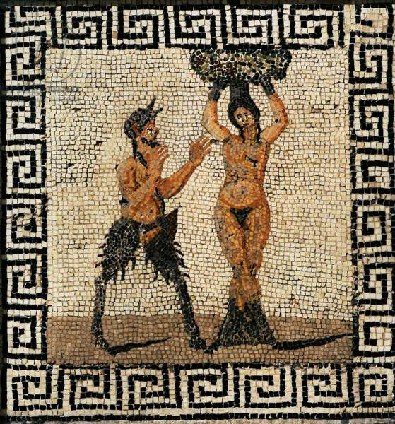 Roman mosaic, Pan with a forest nymph, Hamadryad, Pompeii