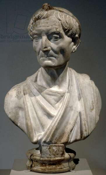 Roman Art. Bust of a priest of the god Serapis. Marble. Data from the years 117-138 Hadrian period.
