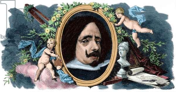 Diego Velazquez (1599-1660), Spanish painter, Portrait (colour engraving)