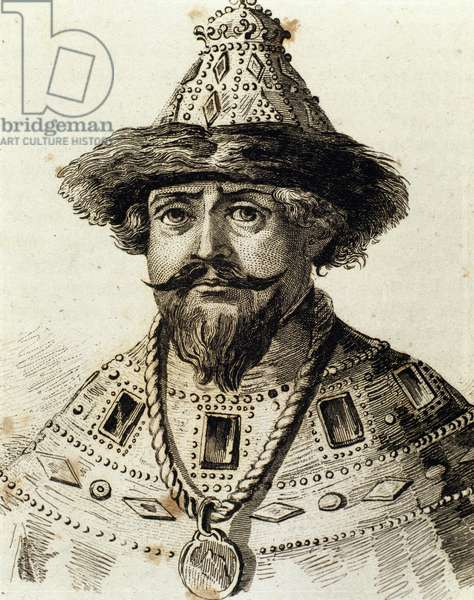 Michael I of Russia (1596-1645). First Russian Tsar of the house of Romanov. Engraving, 19th century. Russia