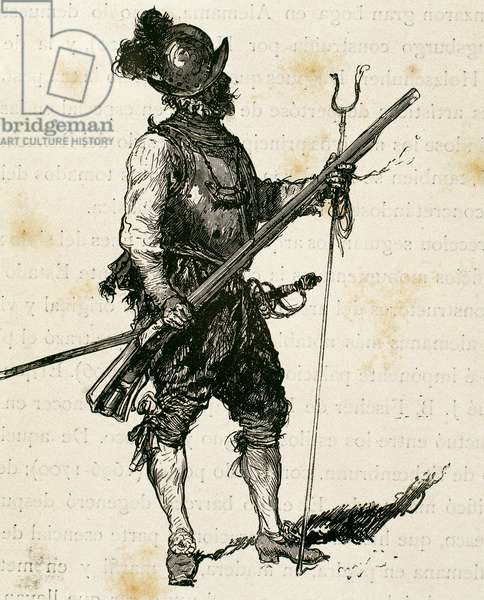 Arquebusier. Soldier armed with an arquebus (engraving)