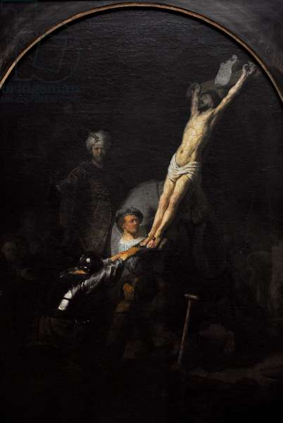 Rembrandt  (1606-1669). The raising of the cross, (oil on canvas)