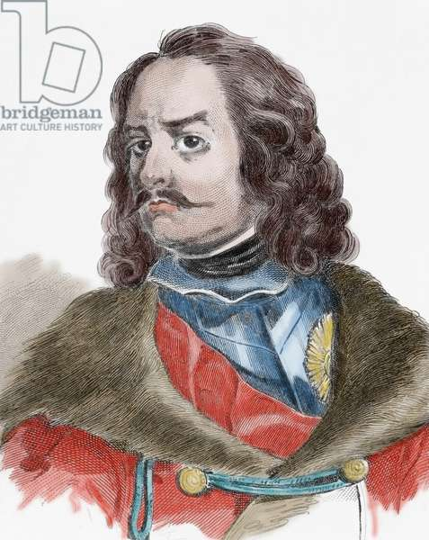 Peter the Great (1672-1725). Emperor of All Russia. House of Romanov. Engraving, 19th century. coloured.
