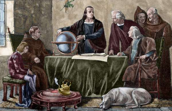 Christophe Colomb (Cristoforo Colombo) (1451-1506), Genois explorer and navigator, at the monastery of La Rabida, before his departure for America - Colorised engraving from a painting by Felipe Manso, from the Spanish and American Illustration, 1892 (Columbus at the Convent of La Rabida - Engraving in The Spanish and American Illustration, 1892)