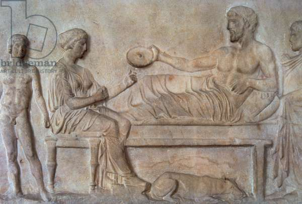 Greek art. Classical period. Grave stele. Relief. Funerary banquet scene. National Archaeological Museum. Athens. Greece.