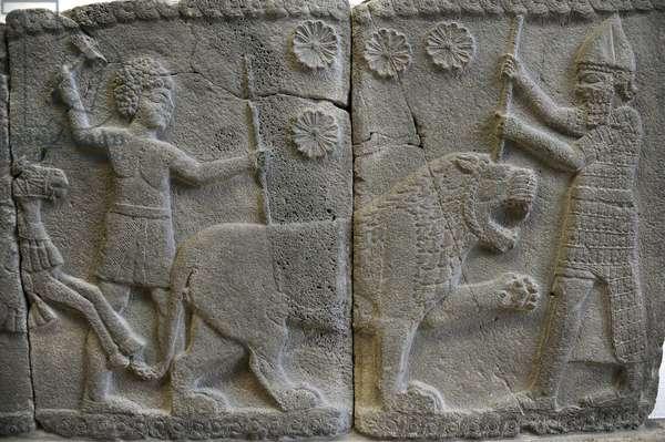 Hittite art. Orthostat. 8th century BC. Relief: Hunting a lion. Sma'al /Zincirli (Turkey).