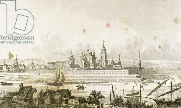 Russia. Tver city in the Volga river's bank (engraving)