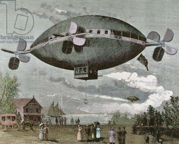 Aerostat, 1887 (engraving) (later colouration)