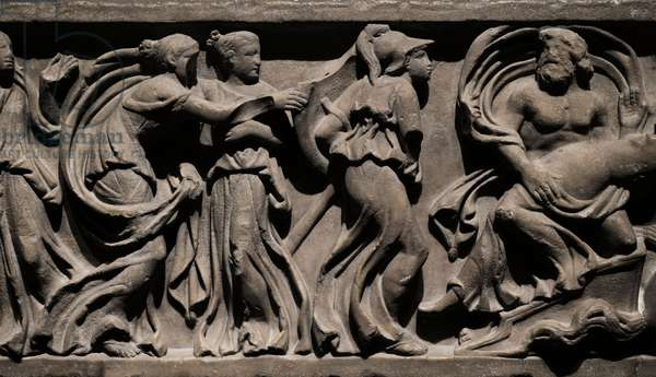 Sarcophagus panel depicting Hades abducting Persephone. Third quarter of the 2nd century AD, Roman (marble)