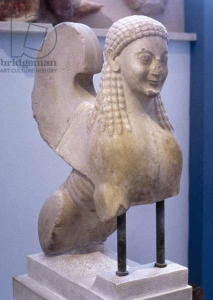 Greek art. Sphinx. Marble. 550 BC.  Acropolis Museum. Athens. Greece.