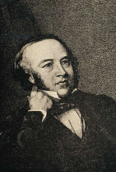 Sir Rowland Hill (1795 – 1879). Was a teacher and creator of the first British postage stamp in history: the Penny Black. Engraving.
