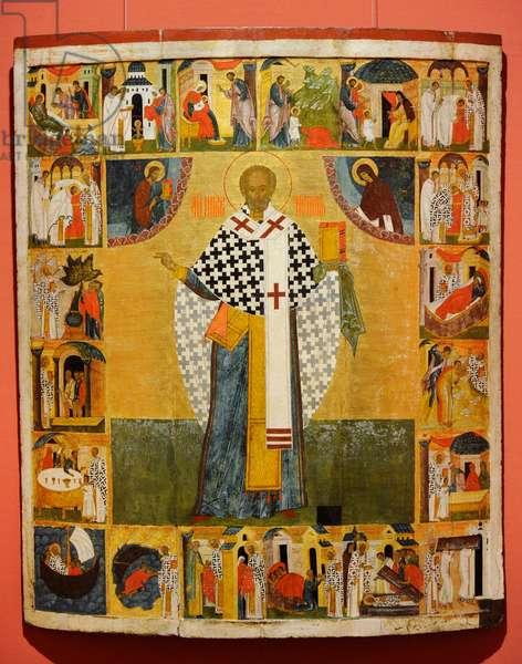 Russian icon depicting Saint Nicholas of Zaraisk, Novgorod School, First half of 16th century