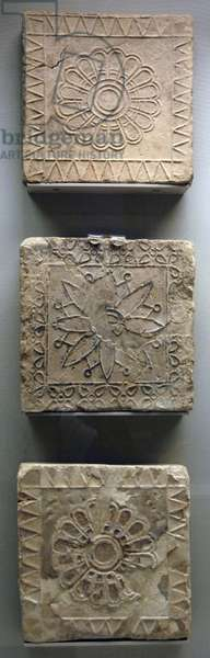 Babylon, Terracotta tiles decorated in floral motifs, between 600-500 BC, from the Temple of Nabu