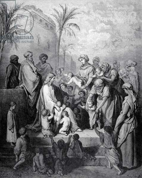 Jesus blessing the children. Engraving.